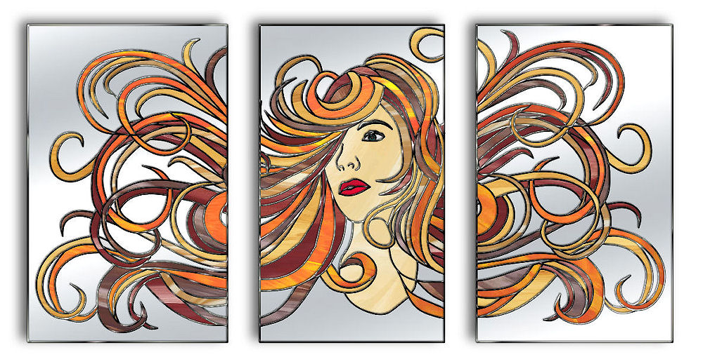 Aphrodite Original Glass Wall Art Triptych Mirror