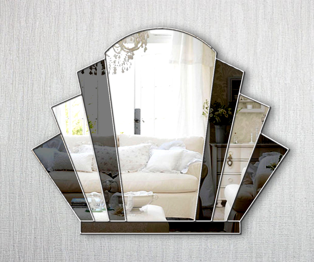 Gatsby Original Handcrafted Art Deco Over Mantle Fan Wall Mirror With Black Glass And Silver Trim Bespoke Mirrors Art Deco Mirrors Custom Made Mirrors