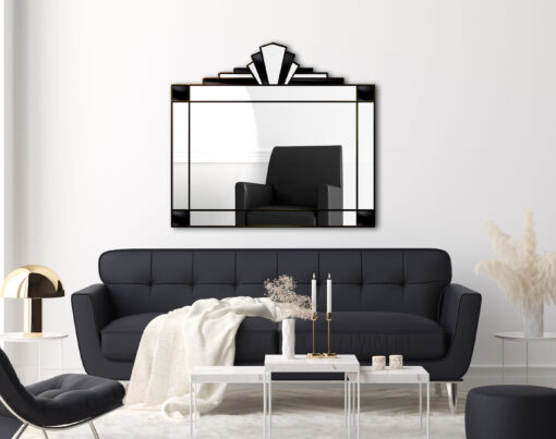 Juliette in black art deco wall mirror