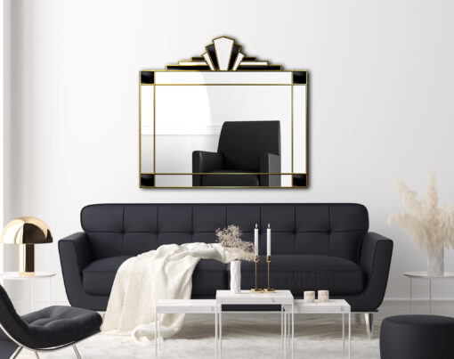 Juliette in gold art deco wall mirror