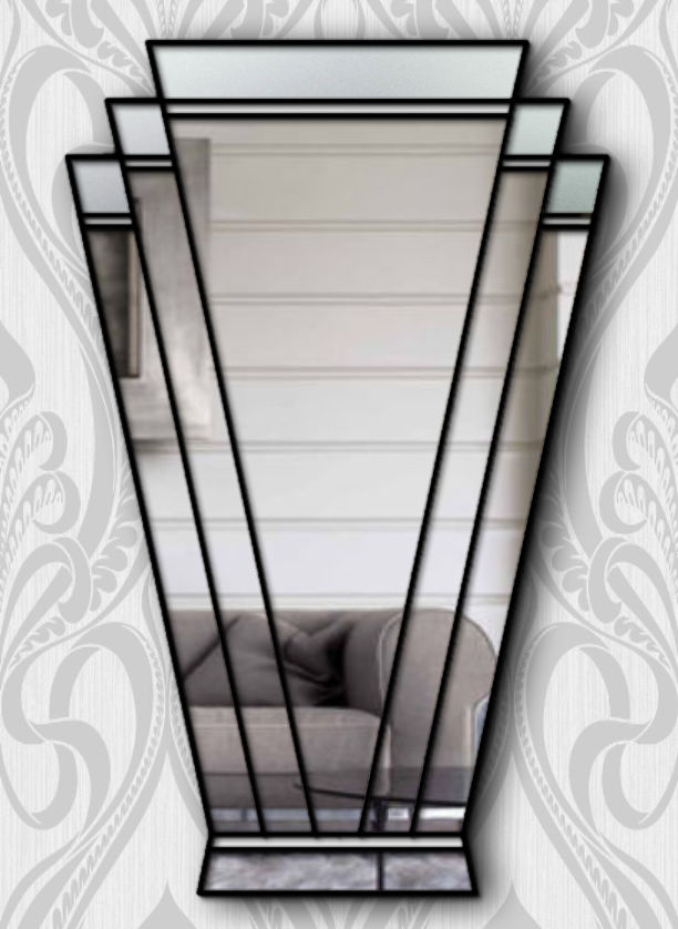 Paris Original Handcrafted Art Deco Fan Wall Mirror With Black Trim Bespoke Mirrors Art Deco Mirrors Custom Made Mirrors