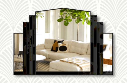 Serenity black glass black trim wall mirror