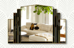 Serenity black glass gold trim wall mirror