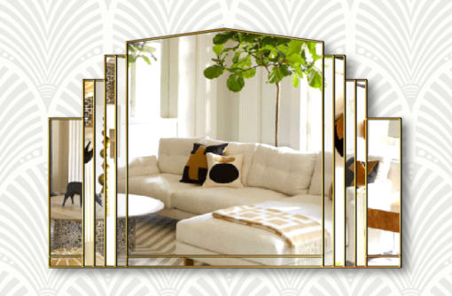 Serenity clear gold trim wall mirror