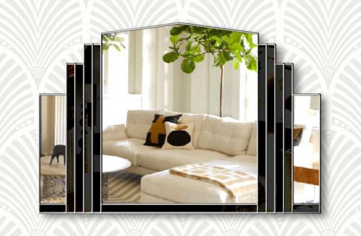 Serenity black silver trim wall mirror