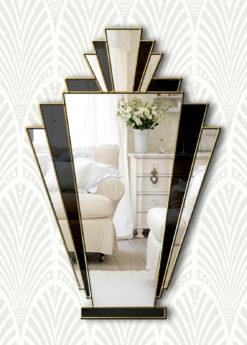 babushka art deco wall fan mirror