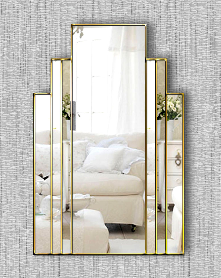 Brooklyn Original Handcrafted Art Deco Wall Mirror With Gold Trim Bespoke Mirrors Art Deco Mirrors Custom Made Mirrors