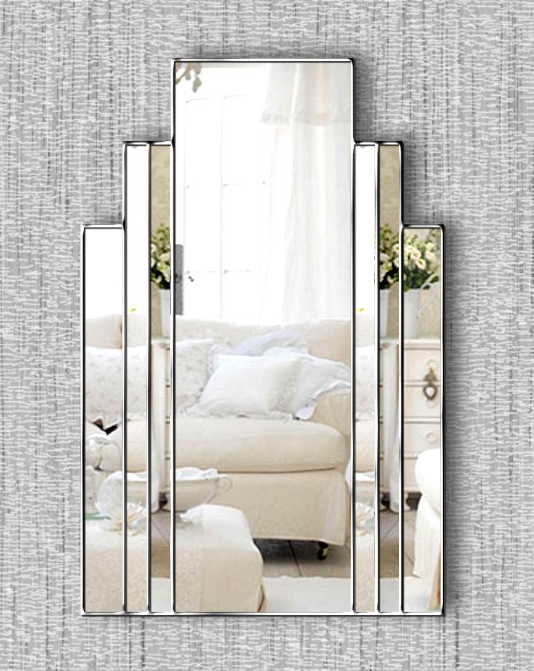 Brooklyn Original Handcrafted Art Deco Wall Mirror With Silver Trim Bespoke Mirrors Art Deco Mirrors Custom Made Mirrors