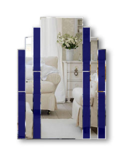 classic deco polished blue are deco wall mirror