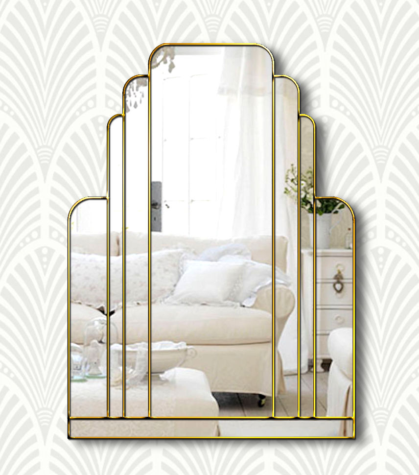 Manhattan Original Handcrafted Art Deco Wall Mirror With Silver Trim Bespoke Mirrors Art Deco Mirrors Custom Made Mirrors