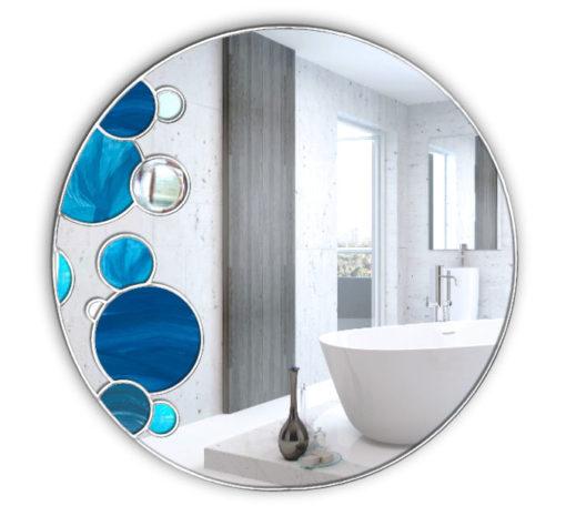 Aqua Splash Handcrafted Coloured Glass Mirror
