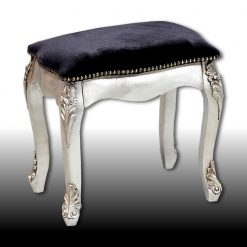 Margot - Antiqued Silver Leaf Dressing Table Stool-0