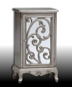 Gilberto- Antique Silver Mirror Fronted Rococo Cabinet-0