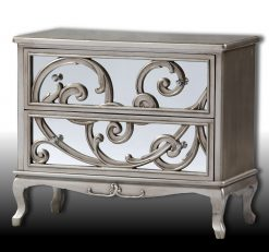 Stephano - Antique Silver Mirror Fronted Rococo Chest of Drawers-0