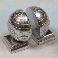 Polished Aluminium Pair Of Globe Bookends-0