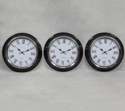 London - New York - Sydney World Clocks - Chrome with White Face Wall Clock OUT OF STOCK-0