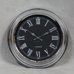 London - Chrome with Black Face Wall Clock-0