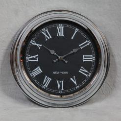 Sydney - Chrome with Black Face Wall Clock-0