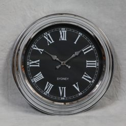New York - Chrome with Black Face Wall Clock-0