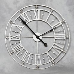 Skeleton Silver Metal Wall Clock-0