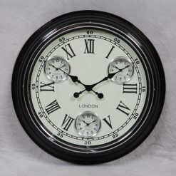 Multi Dial Black With White Face Wall Clock-0