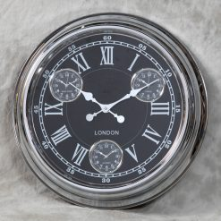 Multi Dial Chrome With Black Face Wall Clock-0