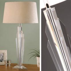 Art Deco Gatsby Crystal Table Lamp - Beige Shade-0