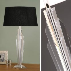 Art Deco Gatsby Crystal Table Lamp - Black Shade-0