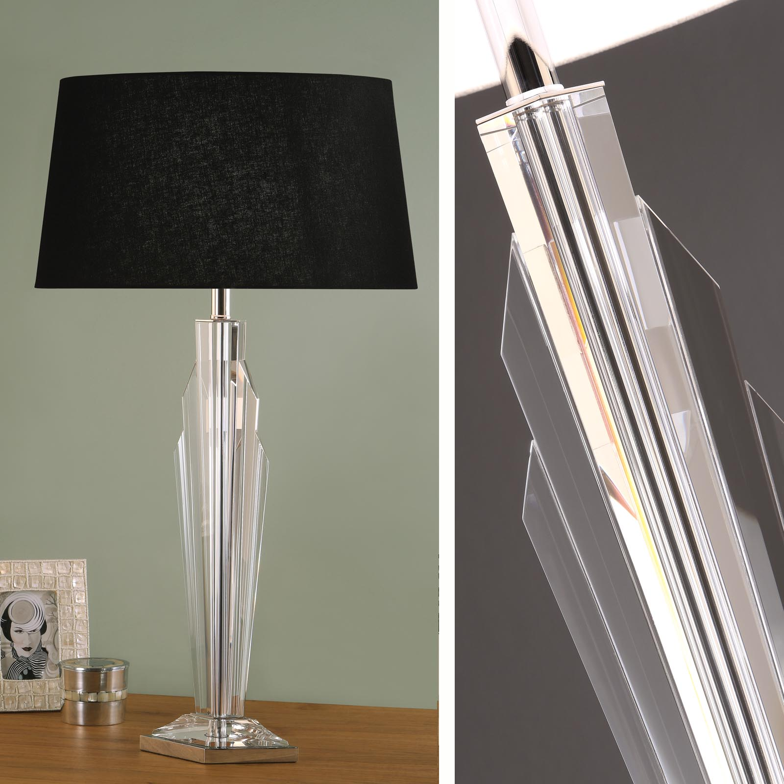 Art deco gatsby crystal table lamp black shade art deco gatsby crystal table lamp black shade 0 mozeypictures Image collections
