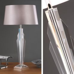 Art Deco Gatsby Crystal Table Lamp - Grey Shade-0