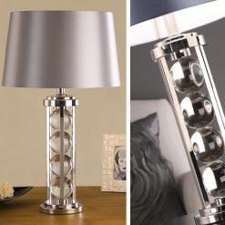 Art Deco Newton Crystal Table Lamp - Grey Shade-0
