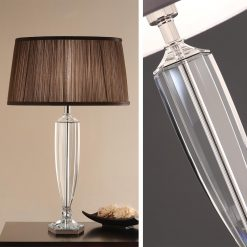 Art Deco Hemmingway Crystal Table Lamp - Chocolate Pleated Shade-0