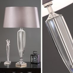 Art Deco Hemmingway Crystal Table Lamp - Grey Shade-0