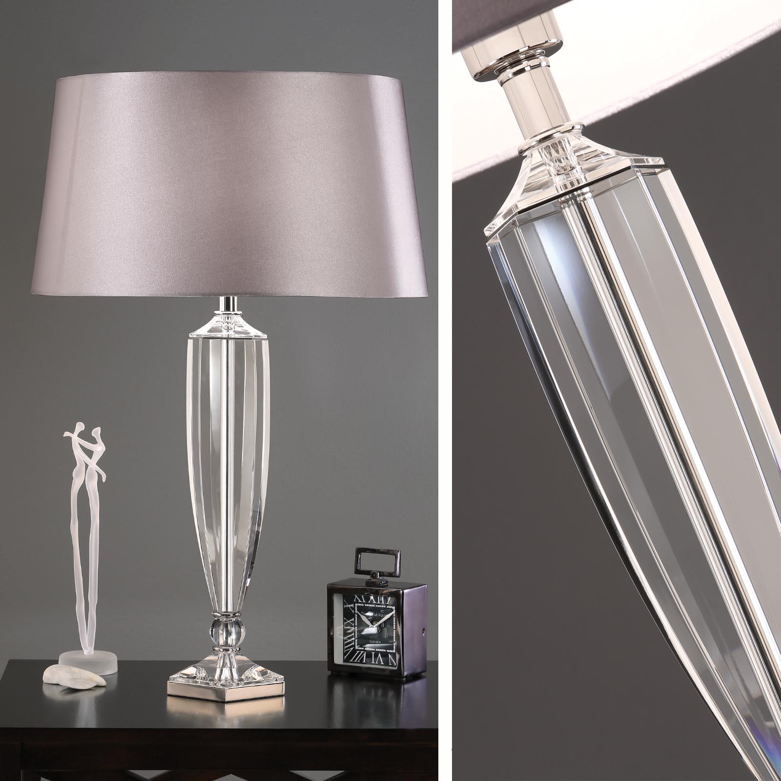 Art Deco Hemmingway Crystal Table Lamp - Grey Shade