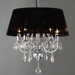 Olivia Crystal Pendant in Polished Chrome with Black Shade-0