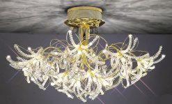 Kenzo Gold Crystal Ceiling Light-0