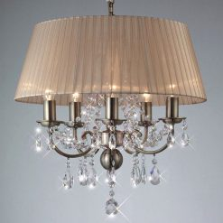 Olivia Crystal Pendant in Antique Brass with Bronze Shade-0