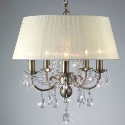 Olivia Crystal Pendant in Antique Brass with Ivory Cream Shade-0