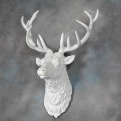 Large Antique White Stag Wall Head-0