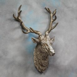 Large Antique Silver Stag Wall Head-0