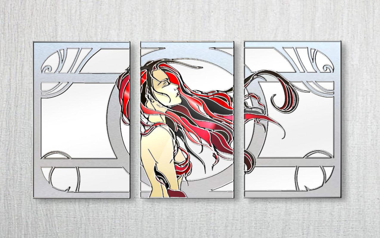 modern mirrored wall art mirrortriptych