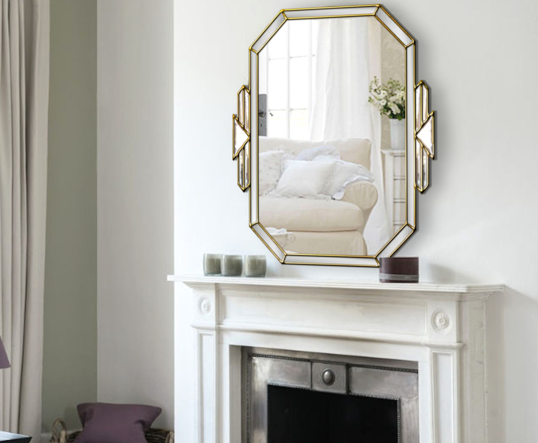 Tiffany Original Handcrafted Art Deco Over Mantle Wall Mirror With Gold Trim Bespoke Mirrors Art Deco Mirrors Custom Made Mirrors