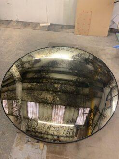 convex antiqued circlular wall mirror