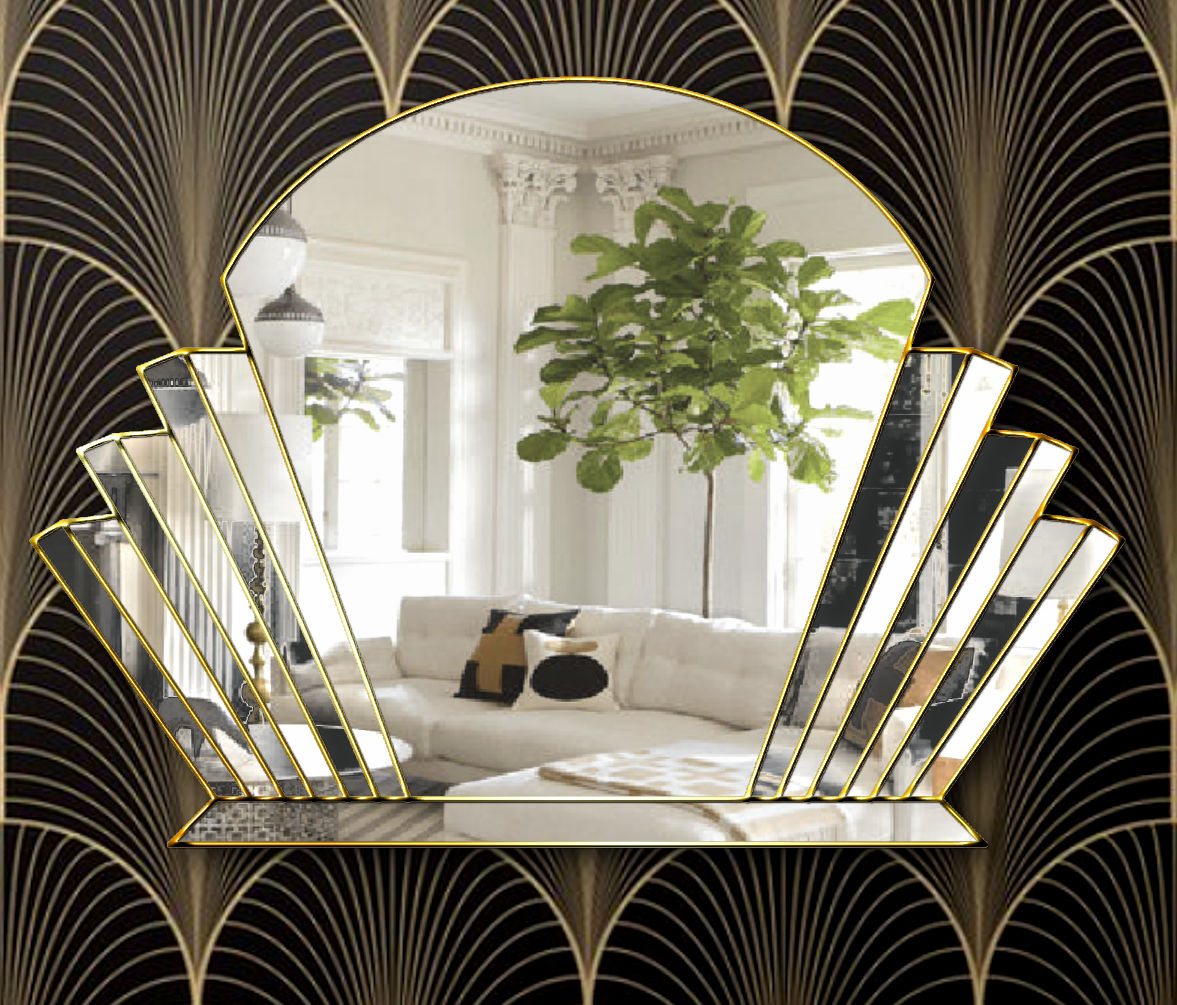 Venus Original Handcrafted Art Deco Over Mantle Wall Mirror In Gold Bespoke Mirrors Art Deco Mirrors Custom Made Mirrors