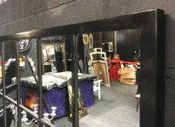 Strauss Black Metal Framed Window Wall Mirror
