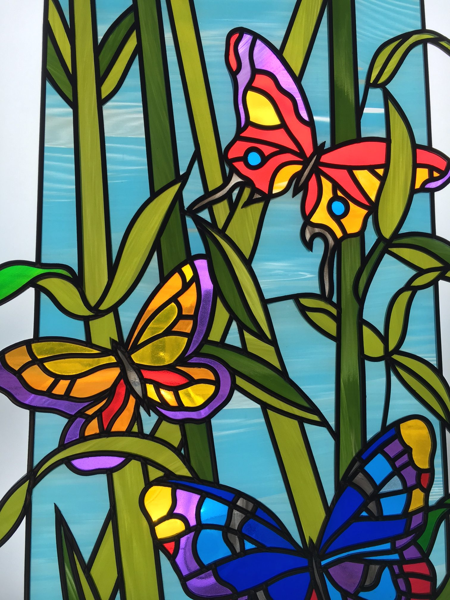 Butterflies Original Coloured Stained Glass Art Bespoke Mirrors Art Deco Mirrors Custom Made Mirrors