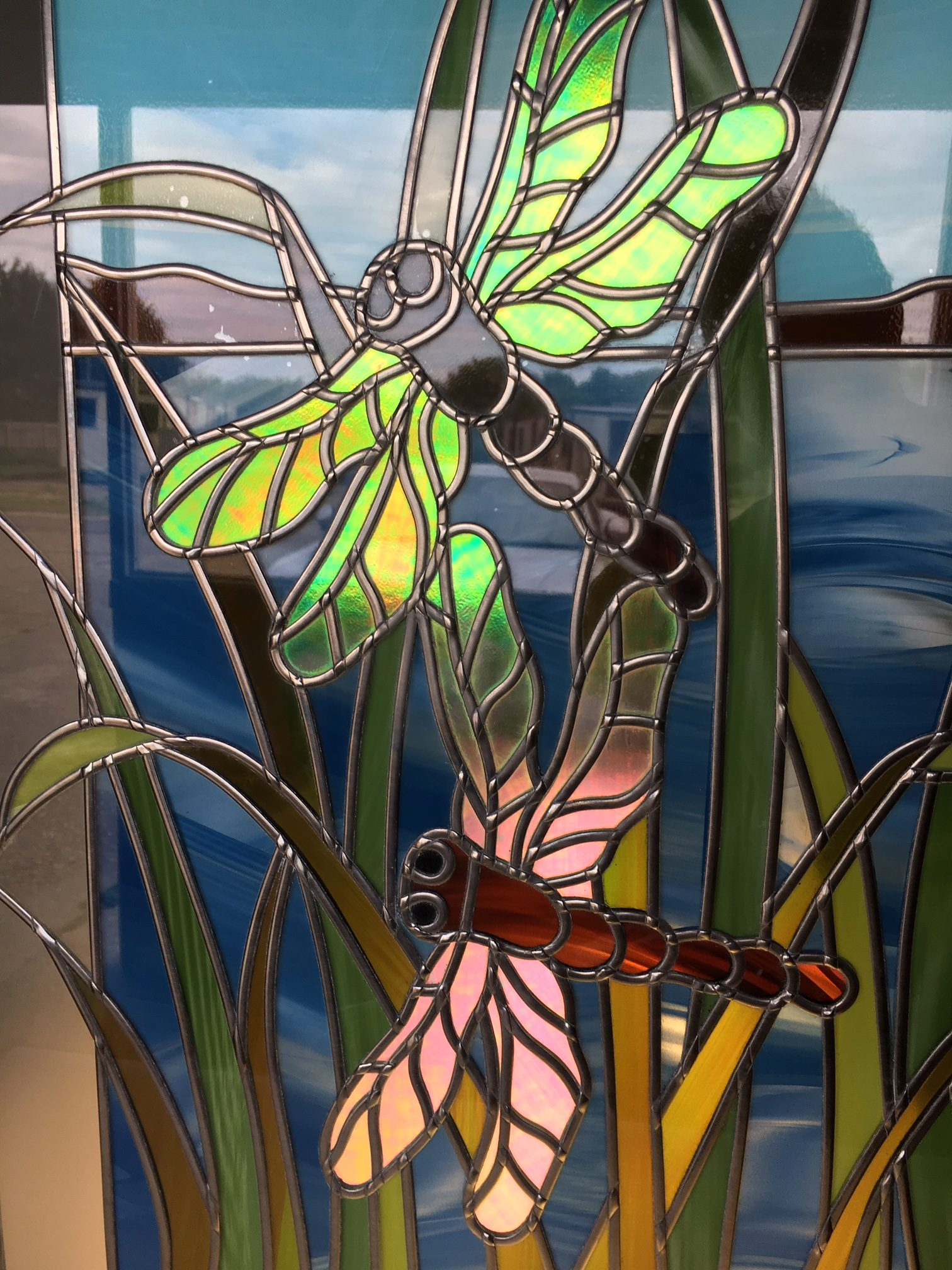 Dragonflies Original Coloured Stained Glass Art Bespoke Mirrors Art Deco Mirrors Custom Made Mirrors