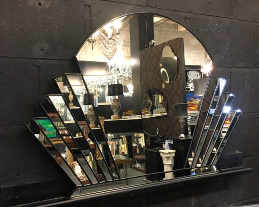 venus art deco fan over mantle wall mirror