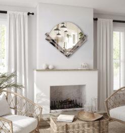 clarice grey tint silver trim art deco wall mirror