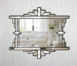 Mia Original Ornate Art Deco Over Mantle Fan Wall Mirror With A Black Trim Bespoke Mirrors Art Deco Mirrors Custom Made Mirrors